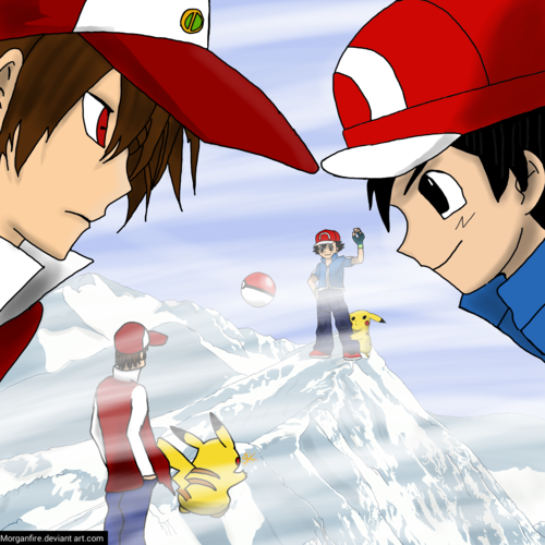 pokémon wallpaper possibly containing a parasol titled Red vs Ash