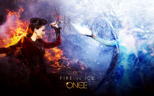 C'era una volta wallpaper probably containing a fuoco titled Regina and Elsa