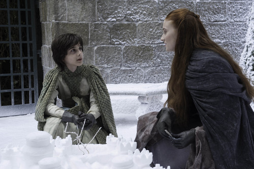 Sansa Stark Hintergrund containing a pelz mantel and a nerz called Sansa Stark and Robin Arryn