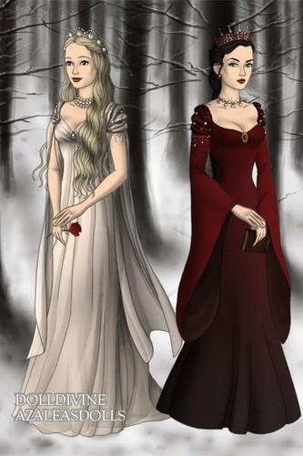 Fairy Tales & Fables karatasi la kupamba ukuta probably containing a chajio, chakula cha jioni dress, a gown, and a chai kanzu, gown titled Snow White and Rose Red