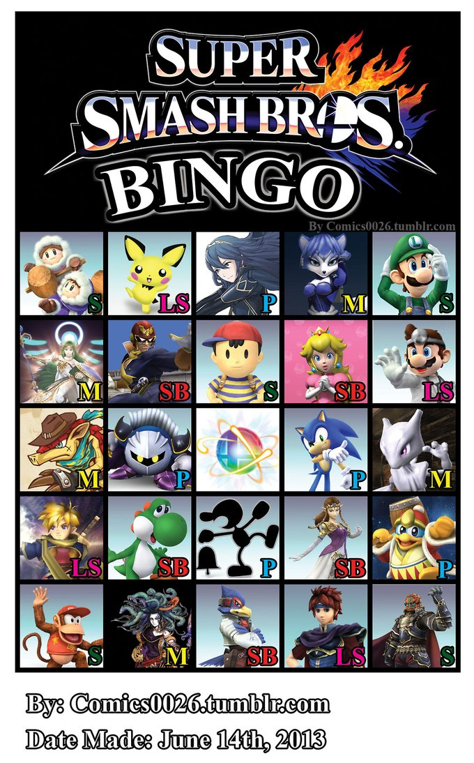Super Smash Bros Bingo