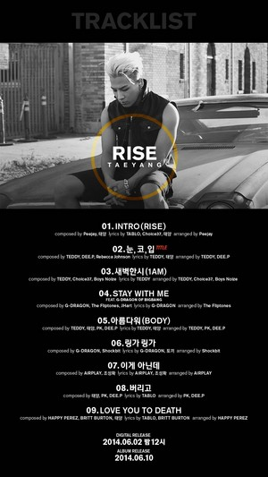 Taeyang tracklist for 'RISE' album