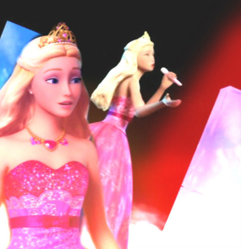 Barbie the Princess and the popstar wallpaper probably containing a cocktail dress and a dinner dress entitled Tori's Long Pink Gown
