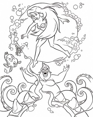 Walt 迪士尼 Coloring Pages - Flounder, Sebastian, Princess Ariel & Ursula