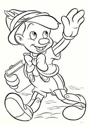 Walt डिज़्नी Coloring Pages - Pinocchio