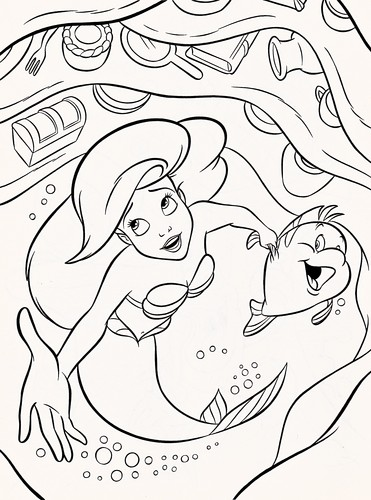 Ariel Flounder Coloring Pages : Walt disney characters images coloring pages