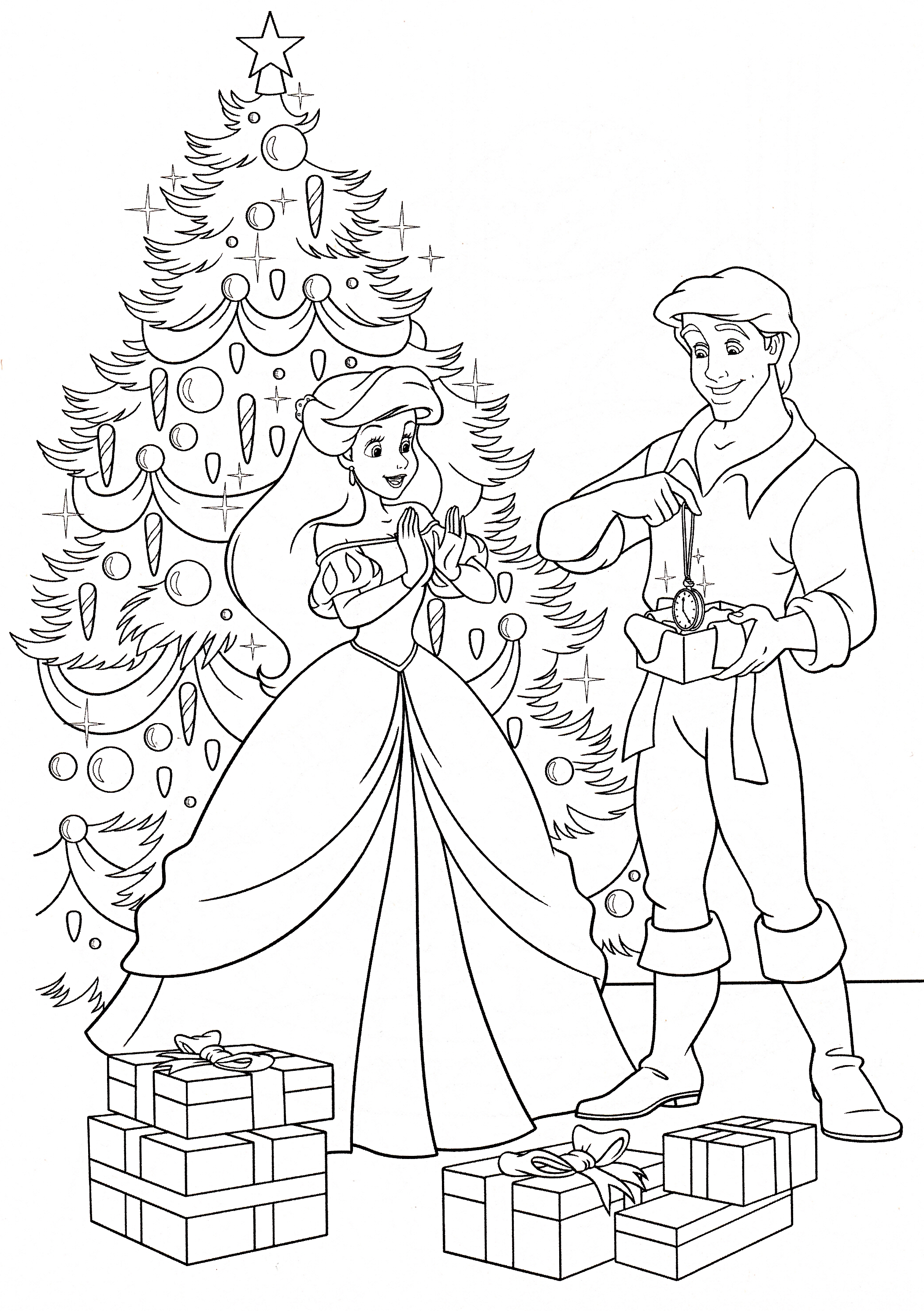 little mermaid christmas coloring pages - photo#15