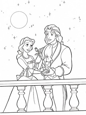 Walt disney Coloring Pages - Princess Belle & Prince Adam