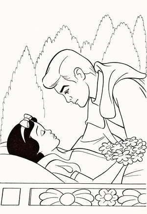 Walt Дисней Coloring Pages - Princess Snow White & The Prince