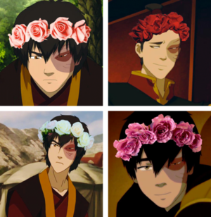 Zuko wearing a bunga crown
