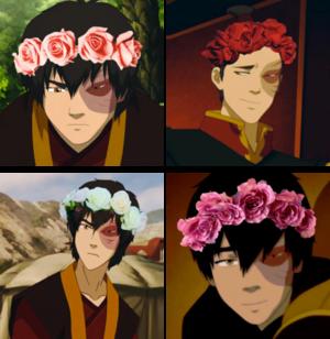 Zuko wearing a flor crown