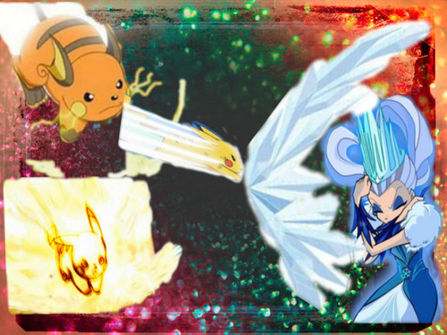 winx The Trix Hintergrund containing a bouquet titled icy vs Pikachu