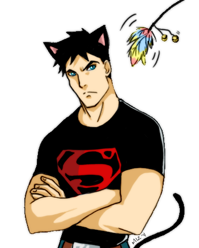Young Justice karatasi la kupamba ukuta possibly containing anime titled superboy kitty