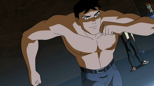 Young Justice Hintergrund probably with a tabard, a hip boot, and Anime titled superboy shirtless
