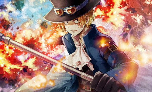 One Piece kertas dinding called *Sabo Wields Flames*
