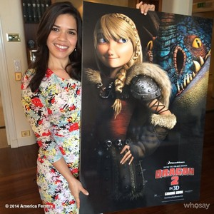 America Ferrera holding Astrid's Poster