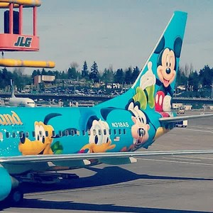 An Ariplane Decorated With Mickey muis And The Other Characters