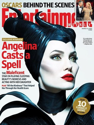 Angelina As Maleficent On The Cover Of Entertainment Magazine