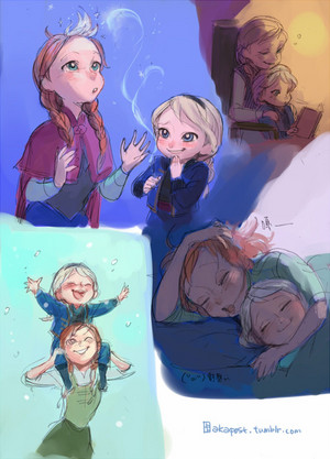 Anna and Young Elsa