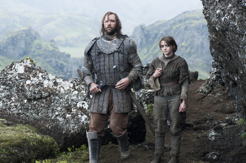 艾莉亚·史塔克 壁纸 containing a green beret, a rifleman, and 战斗服 called Arya Stark and Sandor Clegane