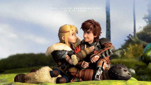Astrid and Hiccup achtergrond Widescreen