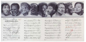 "Autographed Sheet musik To ""We Are The World"""