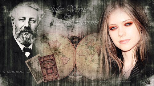 Avril Lavigne پیپر وال possibly with a sign titled Avril and Jules Verne