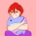 Baby Matsuoka Rin with a dolphin plushie u_u