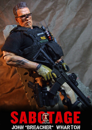 Arnold Schwarzenegger Hintergrund with a rifleman, a green beret, and a navy dichtung called Calvin's Custom One Sixth Scale Sabotage Breacher and Grinder Figures