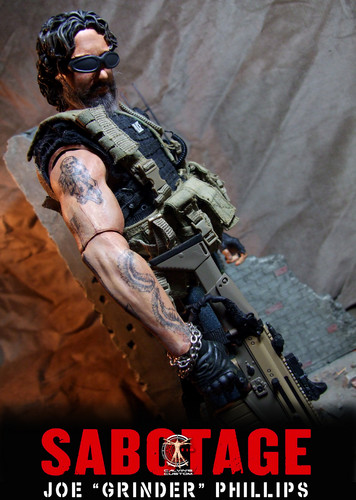 Arnold Schwarzenegger Hintergrund with a rifleman, a green beret, and a navy dichtung titled Calvin's Custom One Sixth Scale Sabotage Breacher and Grinder Figures