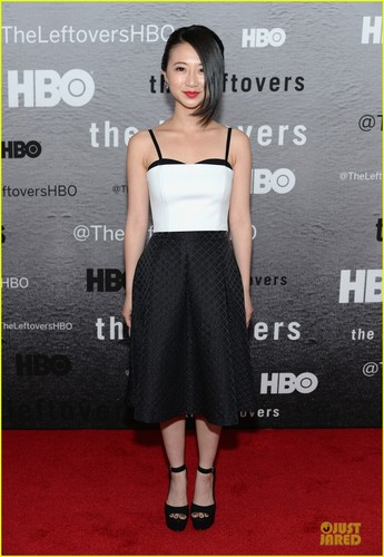 The Leftovers [HBO] karatasi la kupamba ukuta possibly with a cocktail dress entitled Cast @ 'Leftovers' Premiere in NYC
