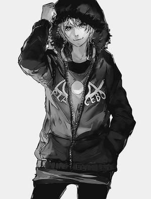 Cute anime boy in koti, jacket