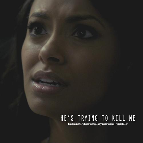 Damon & Bonnie wallpaper with a portrait titled Damon and Bonnie scene 2x18 - Klaus is a threat!