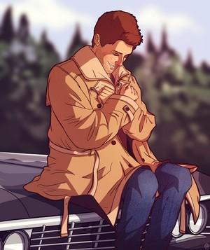 Dean in Castiel's Trenchcoat