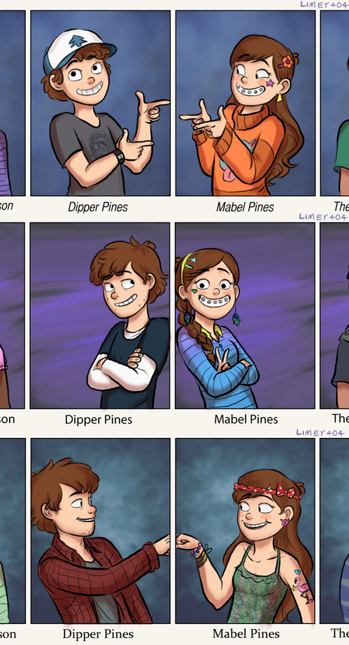 Dipper and Mabel through the years