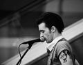 Drake Bell Performing Black and white pic