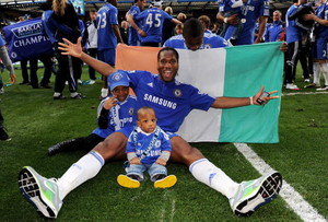 Drogba with his kids