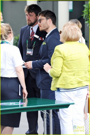 Ed Westwick and his mother Carole arriving at Wimbledon