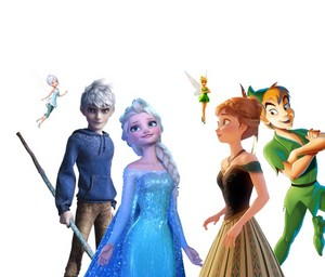 Elsa, Periwinkle and Jack VS Anna, campanita and peter pan