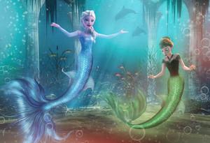 Elsa and Anna as Những nàng tiên cá