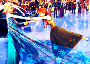 Elsa and Anna have fun with skates