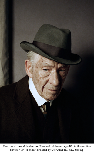 Sherlock Holmes wallpaper containing a business suit titled First Look of Ian McKellen as Sherlock Holmes