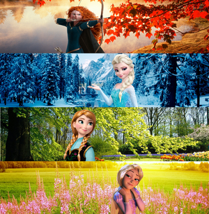 Four disney Characters Seasons