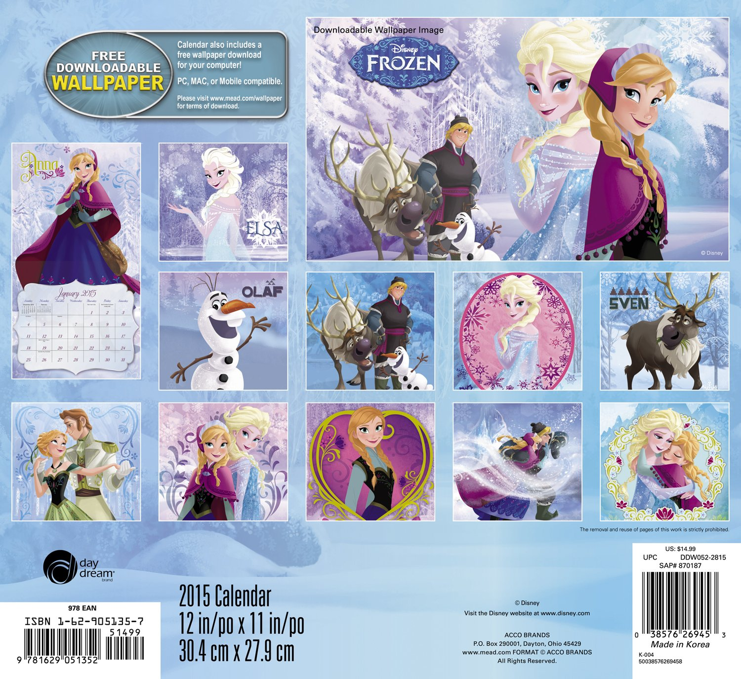 Disney Frozen Yearly Calendar Printable Digital File Image 92 Pictures ...