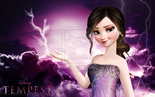 Disney wolpeyper containing a hapunan dress called Frozen: Element swapped to lightning (Tempest)