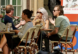 Harry and friends enjoy lunch together at Krog's Fish restaurant.