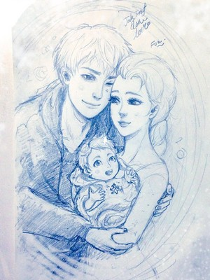 Jack, Elsa and their little snow cupid