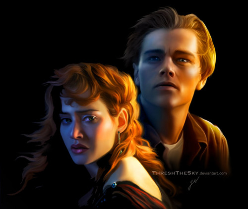 Titanic wallpaper possibly containing a portrait entitled Jack and Rose deviantart drawing