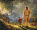 Yesus walking with child