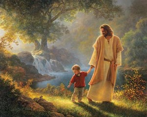 Hesus walking with child